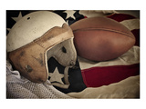 Football Helmet Pigskin & Flag Poster