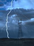 Lightning Striking Metalldrucke von Jeff Vanuga