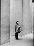 French Actor Jacques Tati Looking at the High Ceiling of an Office Lobby Kunst op metaal van Yale Joel