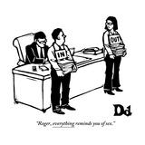 """Roger, everything reminds you of sex."" - New Yorker Cartoon Reproduction giclée Premium par Drew Dernavich"