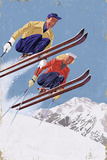 Vintage Skiers Premium Giclee Print by  Lantern Press