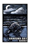 Hanauma Bay, Hawai'i - Sea Turtle - Scratchboard Posters van  Lantern Press