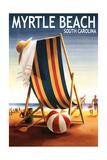 Myrtle Beach, South Carolina - Beach Chair and Ball Poster von  Lantern Press