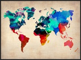 World Watercolor Map 1 Pôsters por  NaxArt