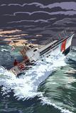 Coast Guard Rescue Boat Premium gicléedruk van  Lantern Press
