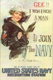 US Navy Vintage Poster - Gee I Wish I Were a Man Print by  Lantern Press