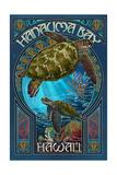 Hanauma Bay, Hawai'i - Sea Turtle - Art Nouveau Print van  Lantern Press