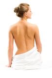 Back Beautiful Woman on White Background Reproduction photographique par  chagin