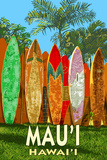 Mau'i, Hawai'i - Surfboard Fence Premium Giclee-trykk av  Lantern Press