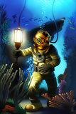 Diver Scene Poster von  Lantern Press
