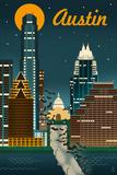 Austin, Texas - Retro Skyline Poster by  Lantern Press