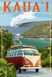 VW Van Coastal - Kauai, Hawaii Plakater av  Lantern Press