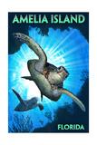 Amelia Island, Florida - Sea Turtle Diving Schilderij van  Lantern Press