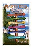 Isla del Encanto, Puerto Rico - Destination Signpost Kunstdrucke von  Lantern Press