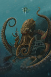 Octopus and Submersible Kunstdrucke von  Lantern Press