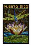 Puerto Rico - Dragonfly Mosaic Poster von  Lantern Press