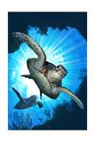 Sea Turtles Diving Posters van  Lantern Press