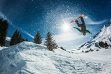 Snowboarder Jumping Plakater av  Lantern Press