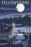 Yellowstone - Wolves and Full Moon Poster by  Lantern Press