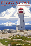 Peggy's Cove Lighthouse - Nova Scotia Plakat af  Lantern Press