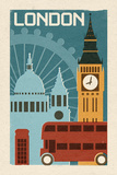 London - Woodblock Affiche par  Lantern Press