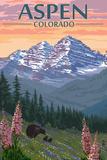 Aspen, Colorado - Bear and Spring Flowers Plakater av  Lantern Press