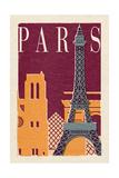 Paris - Woodblock Stampe di  Lantern Press