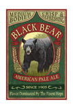 Black Bear Ale - Vintage Sign Affiche par  Lantern Press