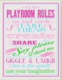 Playroom Rules - Pink Wood Sign