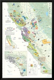 California Wine Map Poster Pôsters