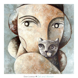 Cat and Woman Kunstdruck von Didier Lourenco
