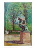 The Thinker by Rodin, 1907 Giclée-tryk af Edvard Munch