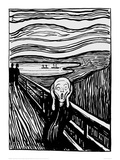 The Scream (Black and White) Giclée-tryk af Edvard Munch