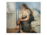 Morning, (Girl sitting on bed) Reproduction procédé giclée par Edvard Munch