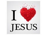 I Love Jesus Heart Graphic Posters