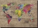 World of Colours - Vintage Bedruckte aufgespannte Leinwand von Sandra Jacobs