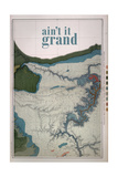 Ain't it Grand - 1882, Grand Canyon Map - The Kanab, Kaibab, Paria and Marble Canon Platforms Giclee-trykk