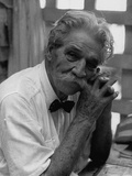 Dr. Albert Schweitzer, Medical Missionary and Humanitarian, Sitting in His Famous Hospital Kunst op metaal