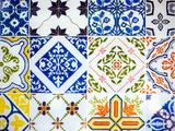 Detail of Antique Portuguese Tiles Metalltrykk av Viviane Ponti