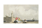 Fisherfolk on the Beach Giclee Print by Richard Parkes Bonington