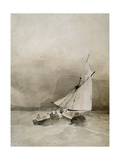 A Sailing-Vessel and a Rowing-Boat in Rough Seas Off Beachy Head, Sussex Giclee Print by Richard Parkes Bonington