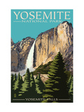 Yosemite Falls - Yosemite National Park, California Arte sobre metal por  Lantern Press