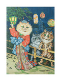 Cats in Japan Art sur métal  par Louis Wain