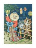 Cats in Japan Metalldrucke von Louis Wain