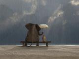 Elephant And Dog Sit Under The Rain Metalltrykk av  Mike_Kiev