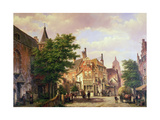 Figures at a Crossroads in Amsterdam Giclee Print by Willem Koekkoek