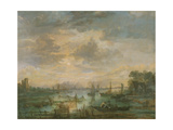 Moonlit Scene with Fishermen Giclee Print by Aert van der Neer