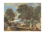 Landscape with a Man Washing His Feet at a Fountain Giclee Print by David Cox