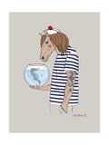Horse Sailor Poster by Olga Angellos