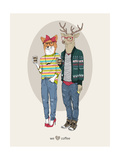 Fox Girl and Deer Boy Hipsters Poster by Olga Angellos
